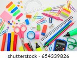 school supplies and stationery... | Shutterstock . vector #654339826