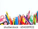 school supplies on white... | Shutterstock . vector #654339922
