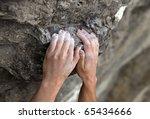 Rock Climber's Hands On Handhold