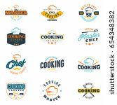 cooking classes colored badges... | Shutterstock .eps vector #654348382
