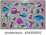 set of underwater life cartoon... | Shutterstock .eps vector #654350032