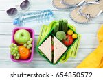 lunch box with vegetables and... | Shutterstock . vector #654350572