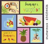 set of cute creative card... | Shutterstock . vector #654354436