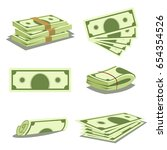 stack of money and pile of cash.... | Shutterstock .eps vector #654354526