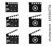 set of movie clapperboard.... | Shutterstock .eps vector #654363736
