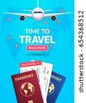 travel banner design. vacation... | Shutterstock .eps vector #654368512