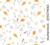 autumn floral pattern. seamless ... | Shutterstock .eps vector #654374062