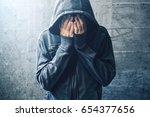 hopeless drug addict going... | Shutterstock . vector #654377656