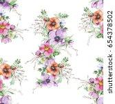 watercolor flower print. modern ... | Shutterstock . vector #654378502