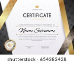 certificate template with... | Shutterstock .eps vector #654383428