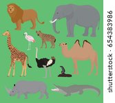 zoo's animals package with... | Shutterstock .eps vector #654383986