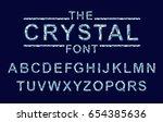 crystal texture font. vector... | Shutterstock .eps vector #654385636