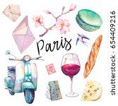 watercolor paris set. hand... | Shutterstock . vector #654409216