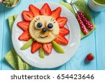 funny flower pancake with... | Shutterstock . vector #654423646