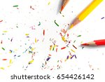 top view crayon and scraps on... | Shutterstock . vector #654426142