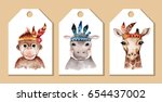 Stock photo tags with cute watercolor animals in indians style 654437002