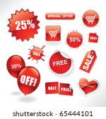 set of red sale stickers  tags  ... | Shutterstock .eps vector #65444101
