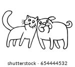 funny cat and dog. isolated... | Shutterstock .eps vector #654444532