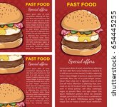 set of fast food banners using... | Shutterstock .eps vector #654445255