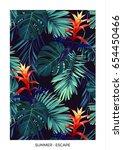 floral vertical postcard design ... | Shutterstock .eps vector #654450466