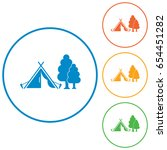 stylized icon of tourist tent.... | Shutterstock .eps vector #654451282