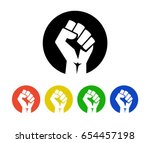 raised fist logo icons set  ... | Shutterstock .eps vector #654457198