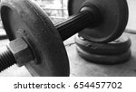 black and white closeup gym... | Shutterstock . vector #654457702