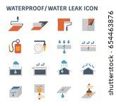 waterproofing and water leaked... | Shutterstock .eps vector #654463876
