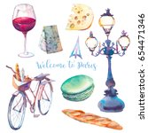 welcome to paris. watercolor... | Shutterstock . vector #654471346