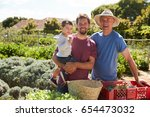 father with adult son and... | Shutterstock . vector #654473032
