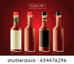 blank sauce bottles  dark red... | Shutterstock .eps vector #654476296