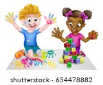 cartoon boy and girl playing... | Shutterstock . vector #654478882