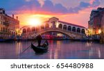 Gondola Near Rialto Bridge In...