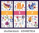 set of labels with watercolor... | Shutterstock . vector #654487816