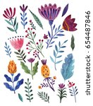 watercolor flowers | Shutterstock . vector #654487846