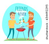 two man with drink fried meat... | Shutterstock .eps vector #654492295
