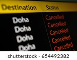 flight board display flight to... | Shutterstock . vector #654492382