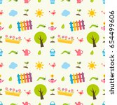 seamless pattern with colorful... | Shutterstock . vector #654499606