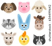 set of cute cartoon colorful... | Shutterstock . vector #654499642