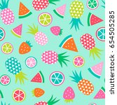 colorful hand drawn tropical... | Shutterstock .eps vector #654505285