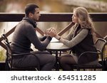 young romantic couple at... | Shutterstock . vector #654511285