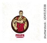 vintage propaganda logo and... | Shutterstock .eps vector #654515338