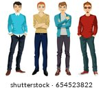 handsome man dressed in modern... | Shutterstock .eps vector #654523822