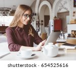concentrated at work. confident ... | Shutterstock . vector #654525616