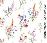 watercolor floral floral... | Shutterstock . vector #654525952