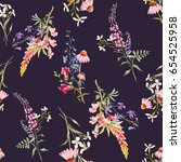 Stock photo watercolor floral floral pattern flowers echinacea lupine and blue aquilegia dark retro 654525958