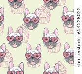 bulldog pattern  vector... | Shutterstock .eps vector #654528022