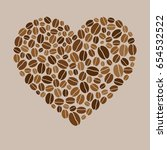 heart made of colored coffee... | Shutterstock . vector #654532522