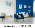 Small photo of Cozy blue and white living room with flowery patterns on pillows and posters