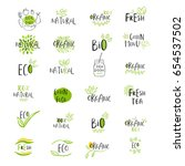 set of vector eco  bio green... | Shutterstock .eps vector #654537502